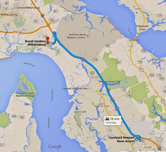 Busch Gardens Williamsburg is 14.5 miles/16 minutes from Courtyard Newport News Airport