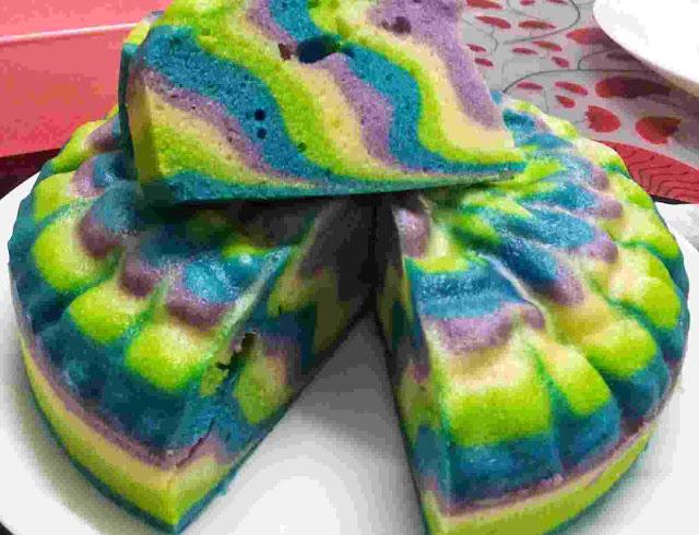 Resepi Kek Minyak Kukus Warna-Warni Mudah++