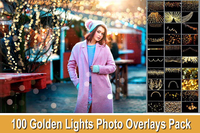 100 Golden Lights Overlays