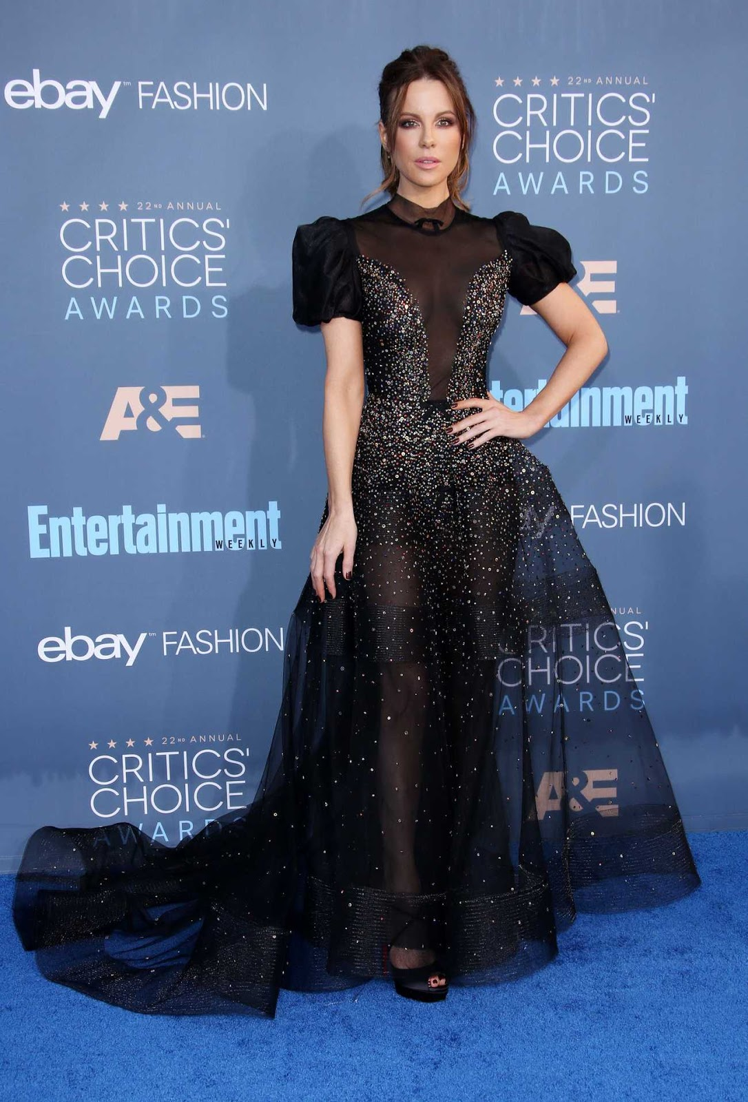 Kate Beckinsale steals the show in sheer glittering ballgown at the 22nd Annual Critics' Choice Awards