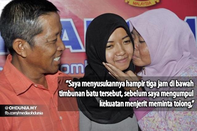Nur Hamidah dikucup oleh ibunya, Umi Rasyidah.