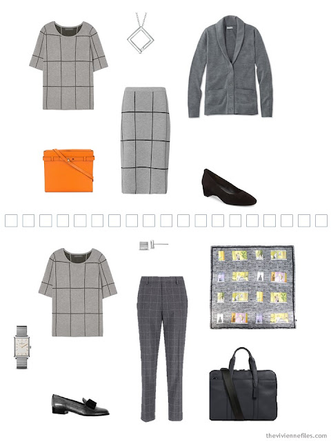 2 ways to wear a grey grid knit top in a Tote Bag Travel capsule wardrobe