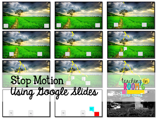 5th graders using Google Slides to create stop motion video