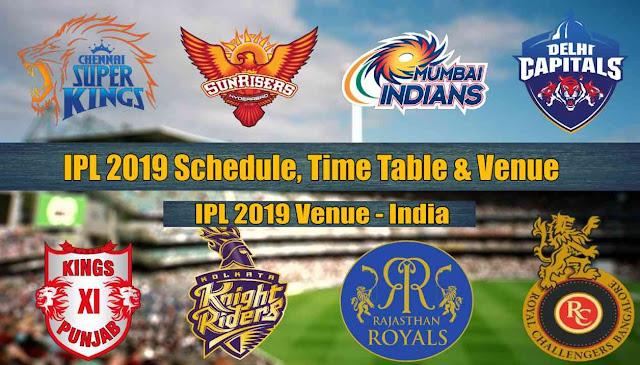 IPL 2019 Match List Schedule