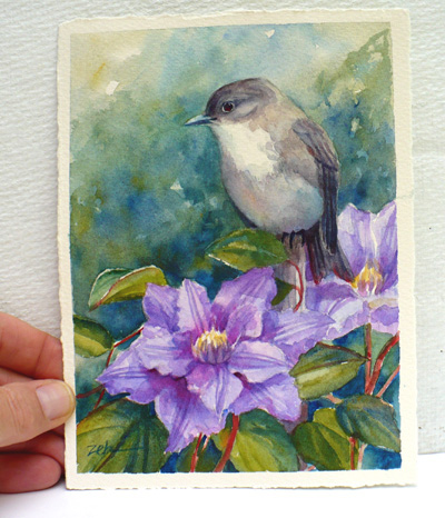 An additional white border makes this bird painting easy to mat