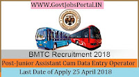 Bangalore Metropolitan Transport Corporation Recruitment 2018-Junior Assistant Cum Data Entry Operator