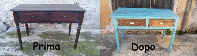Restauro trasformazione tavolo scrivania vintage shabby chic prima e dopo