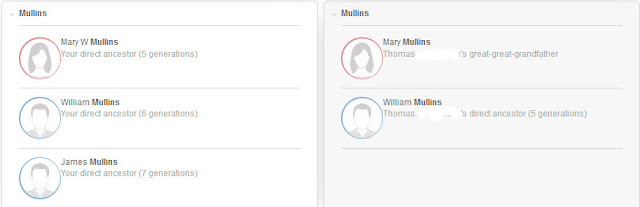 MyHeritage matching surnames
