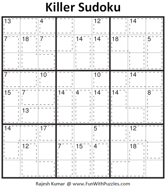 This is an easy Killer Sudoku Puzzle