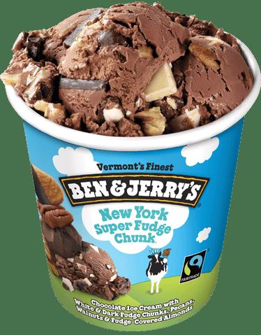 New York Super Fudge Chunk ice cream container.