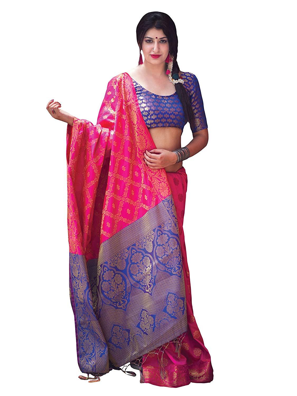Applecreation Women'S Patola Silk Saree With Blouse Piece (13)