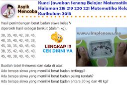LENGKAP !!! Kunci Jawaban Senang Belajar Matematika Halaman 218 219 220 221 Kelas 5 Kurikulum 2013