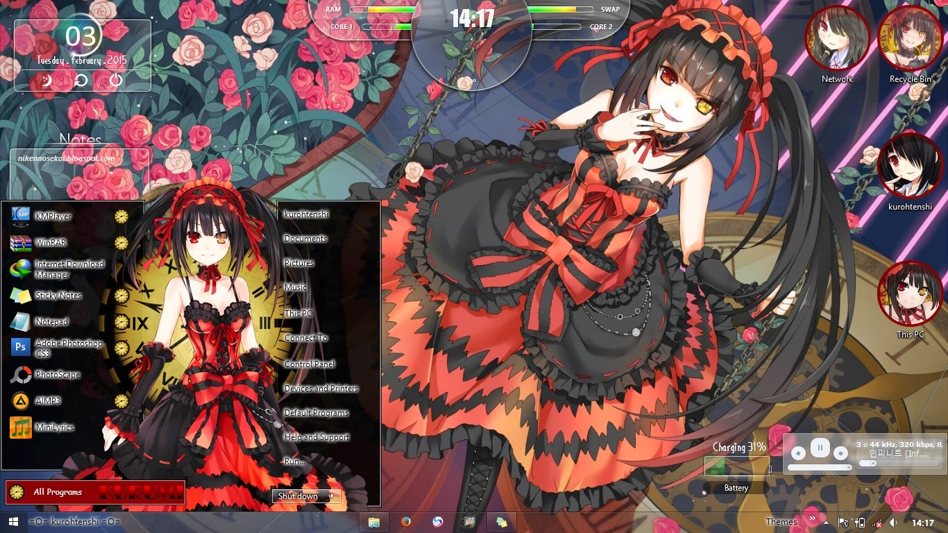 date a live kurumi tokisaki windows 8 1 theme anime themes for