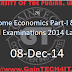 M.Sc Home Economics Part-I & Part-II Annual Examinations 2014 Last Date
