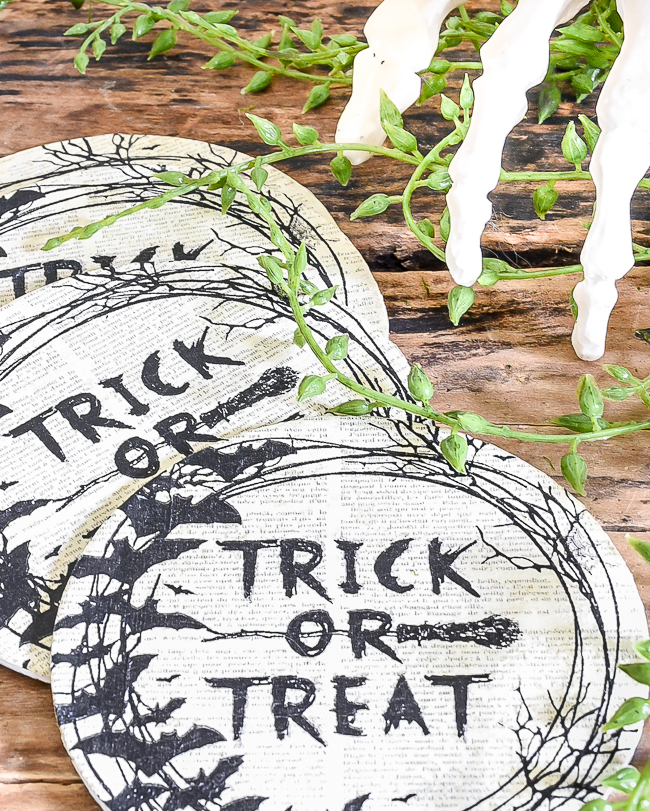 Spooky Trick or treat Dollar Tree halloween coasters
