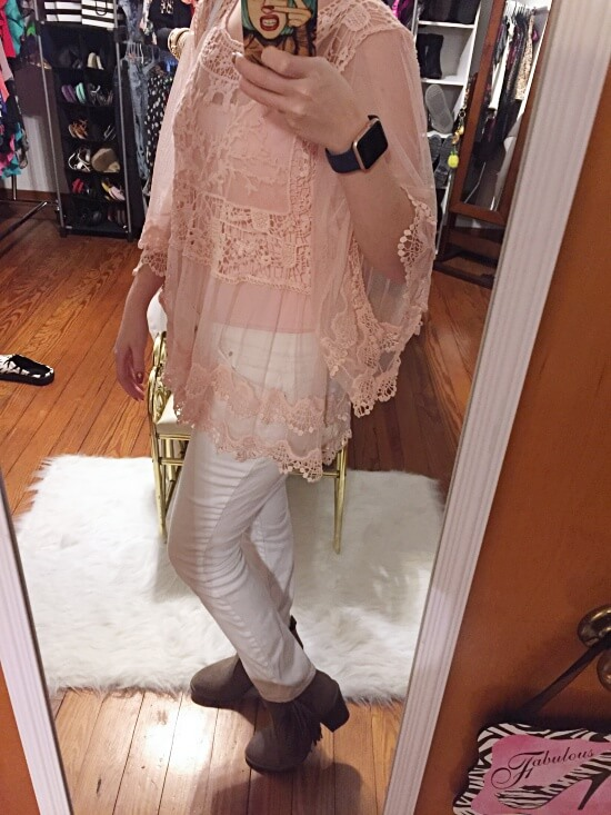 sheer pink lace shirt outfit of the day