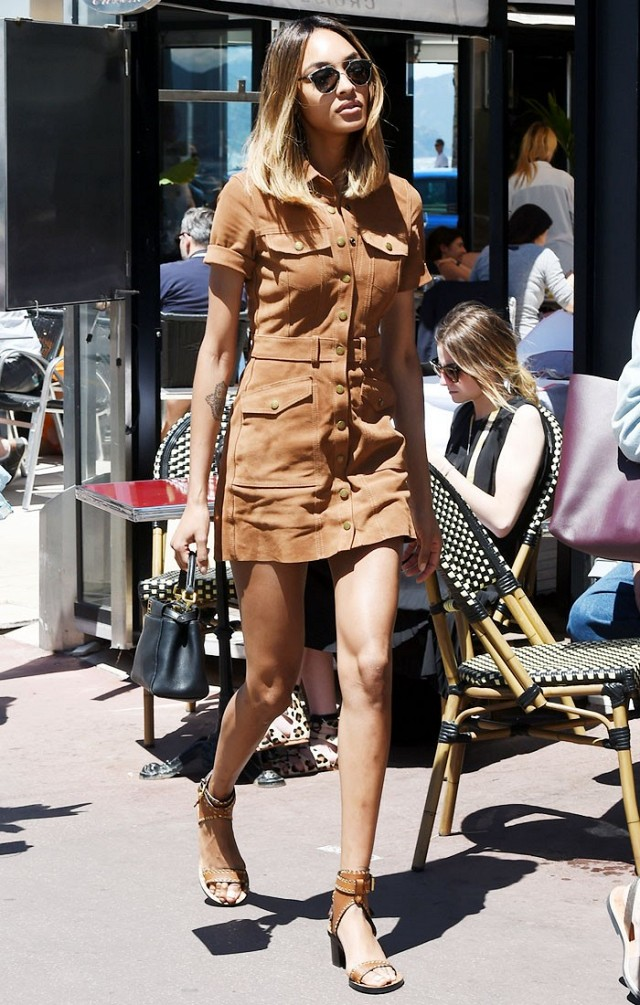 Jourdan Dunn Wears a Suede Dress & Sandals at Cannes