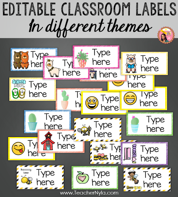Editable Classroom Labels in popular themes