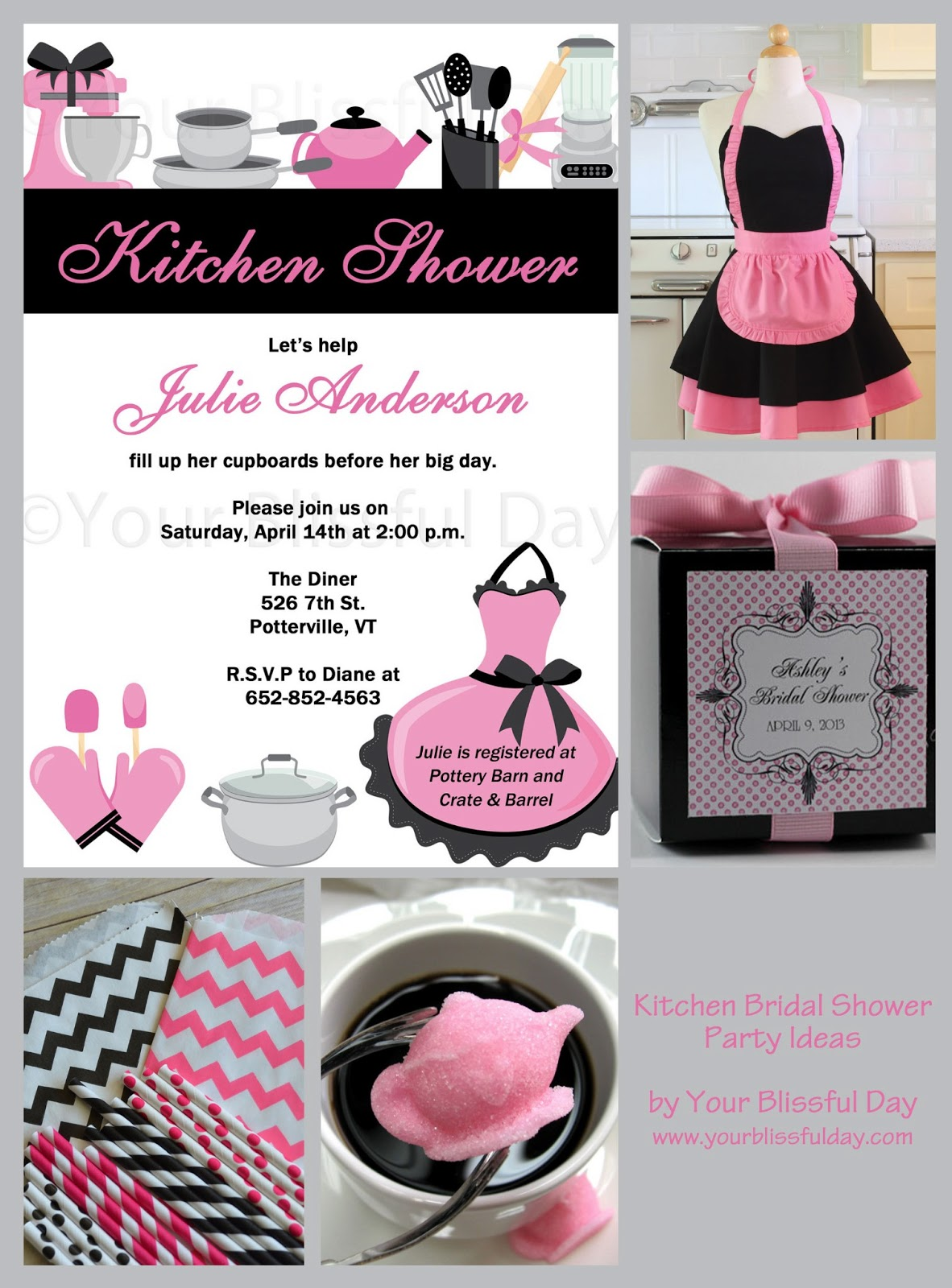 Kitchen Themed Bridal Shower Aid Mixer Covers Invitations