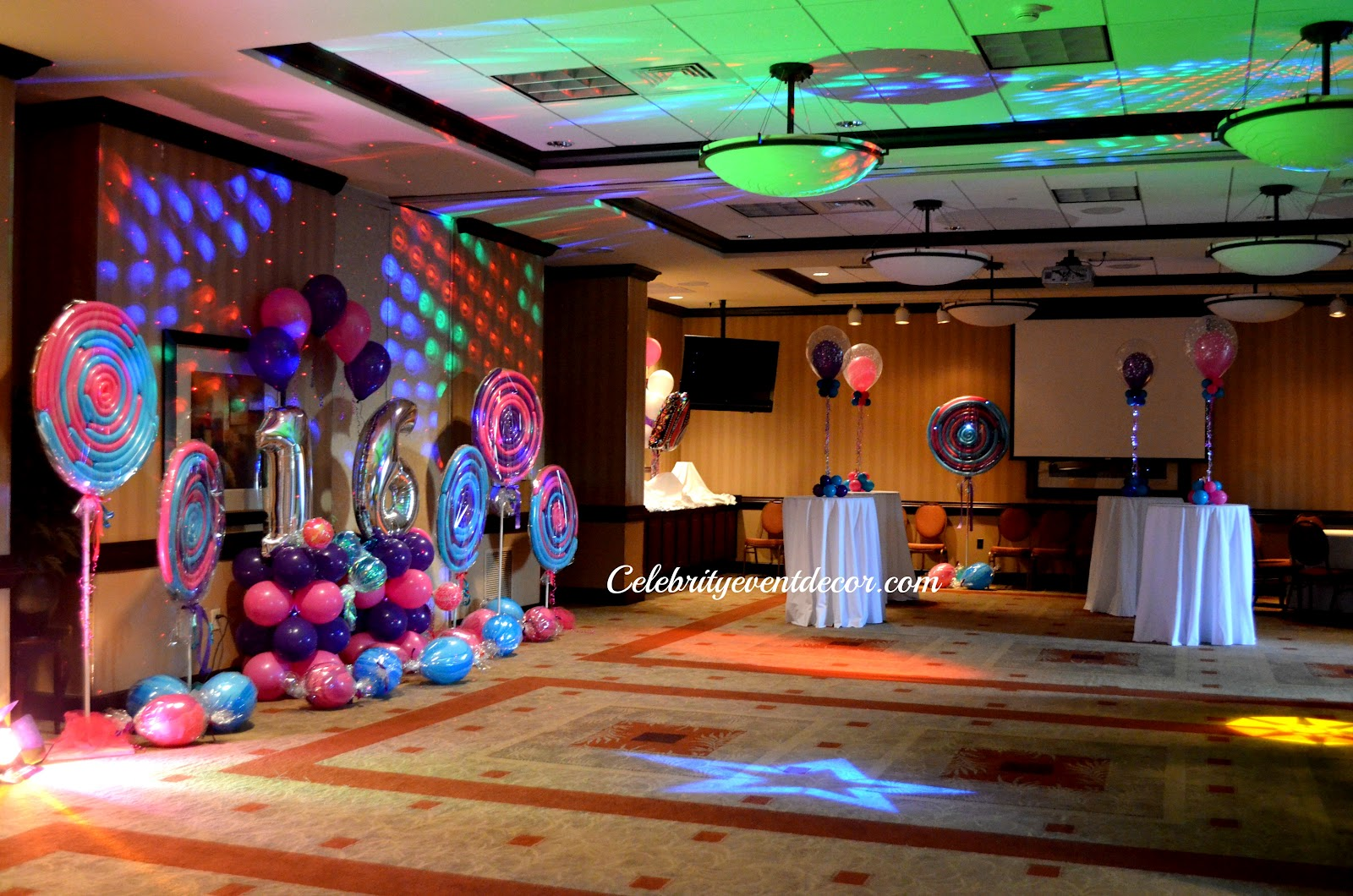 Sweet Decorations on Red Carpet Themed Sweet 16