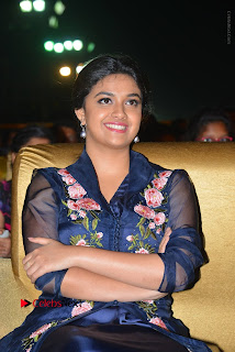 Actress Keerthi Suresh Stills in Blue Long Dress at Nenu Local Audio Launch  0040.JPG