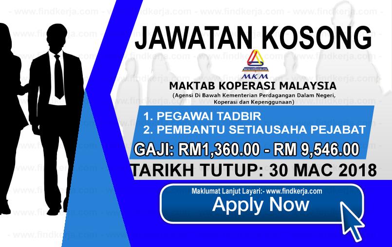 Jawatan Kerja Kosong MKM - Maktab Koperasi Malaysia logo www.findkerja.com mac 2018