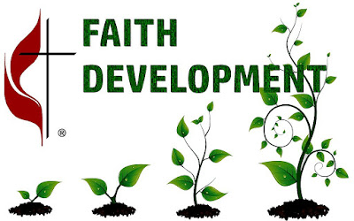 Faith Development, a series of four vines progressively growing larger, set over the words