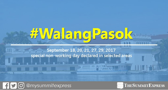 #WalangPasok: September 18, 20, 21, 27, 29, 2017 special holiday