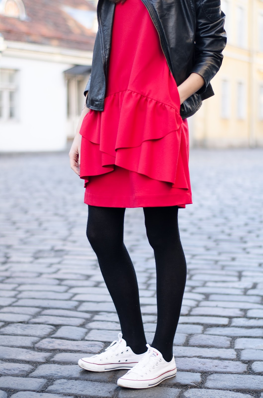 red mini dress sneakers outfit