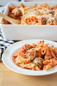 This cheesy and savory baked meatball penne is quick and easy to make, and the perfect hearty dinner for a busy night!