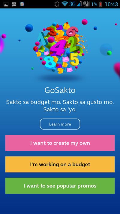 GoSakto App menu
