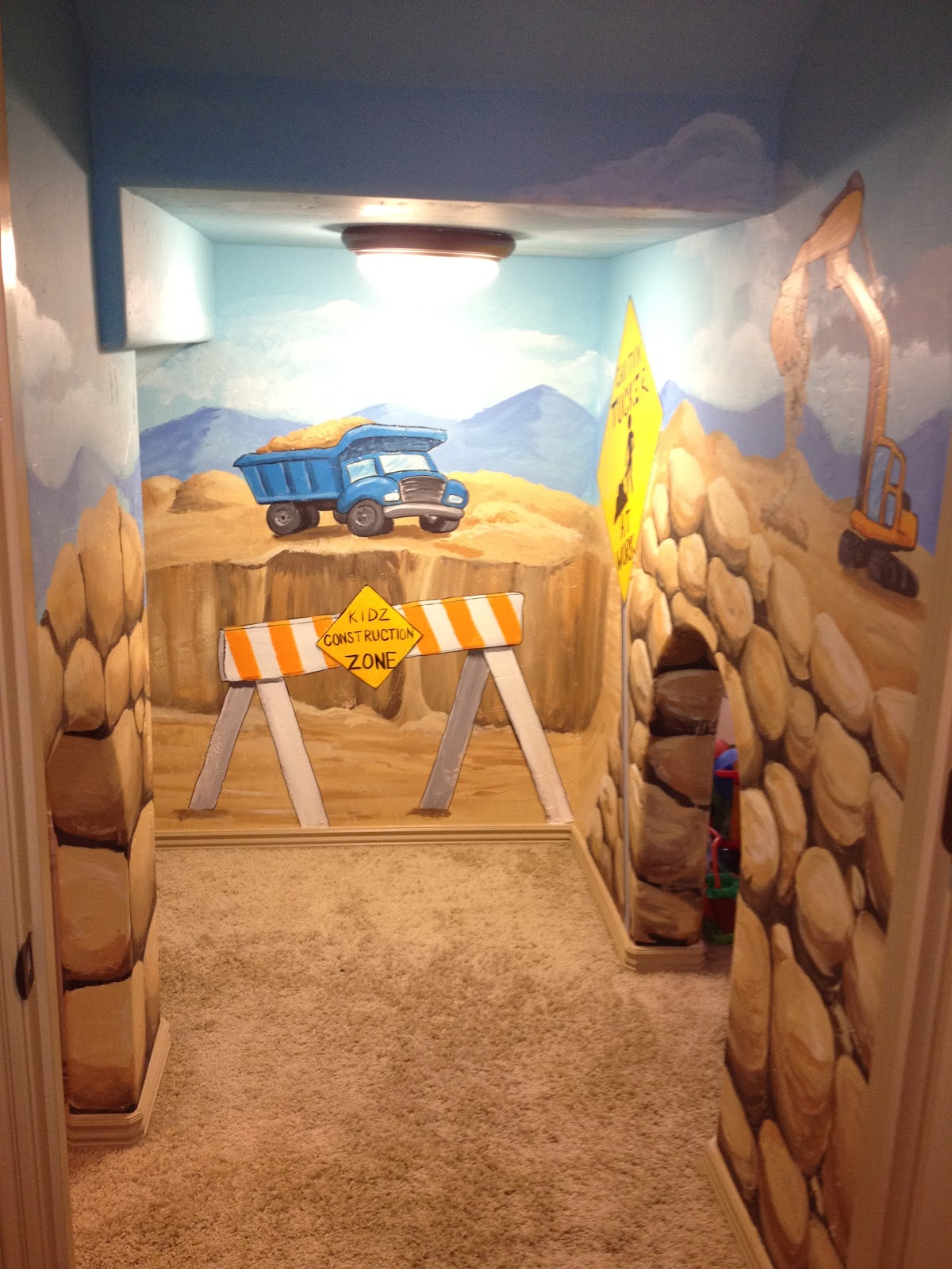 Bawden Fine Murals Construction Zone Playroom Under The Stairs