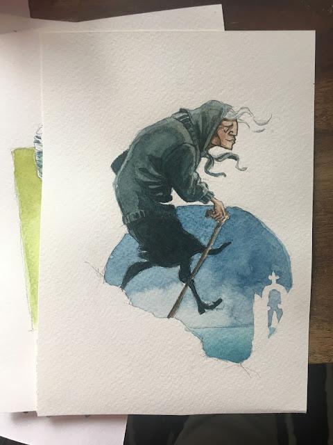 Un petit test technique d'aquarelle représentant une vieille grecque de profil, une canne à la main. Elle semble descendre un petit sentier menant vers la mer.