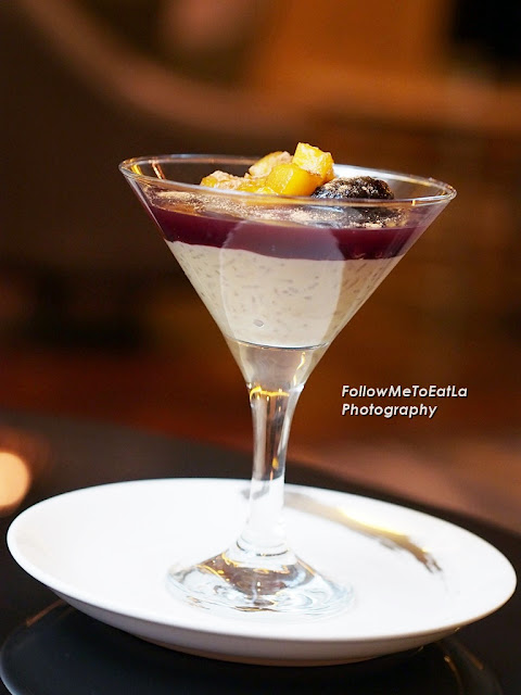 Rice Quinoa Pudding with Purple Mazamorra and Glazed Fruits