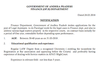 AP Finance Legal Assistant Recruitment Notification 2018