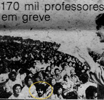 Bigode, na greve dos 170 mil professores