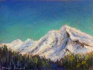 A soft pastel painting of the snow capped mountains by Manju Panchal