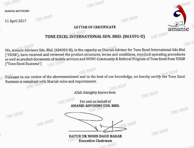 tone excel toneexcel tonegroup patuh syariah shariah halal haram toneexcel2u