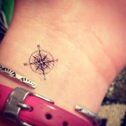 Pequena bussola desenhos de tatuagens no pulso ideias para meninas