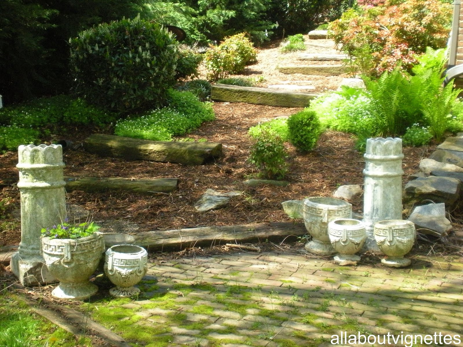Mays Garden: All About Vignettes: Clay Chimney Pots And My May Garden