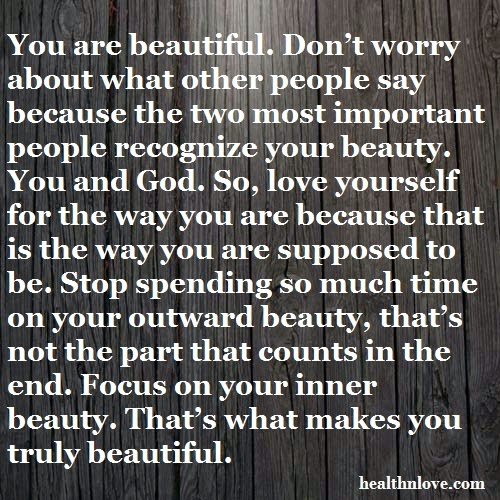 Love Romance and Health: You are beautiful Quotes