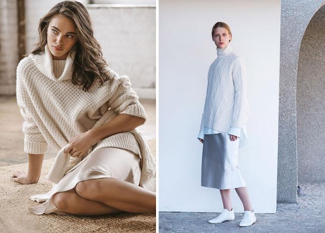 Белый текстурный свитер с атласной юбкой