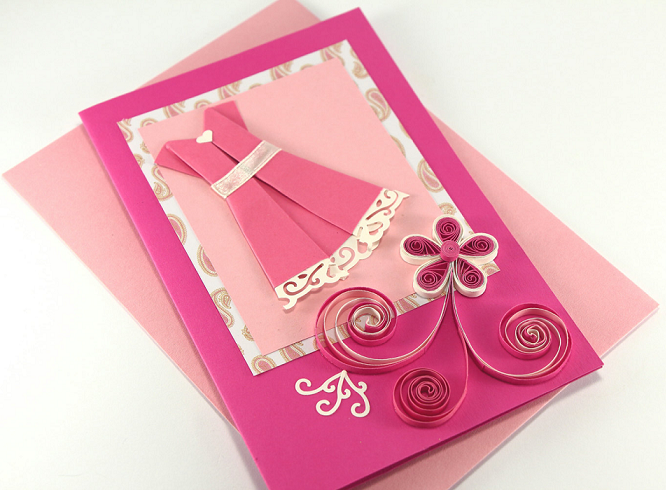 2015 Handmade Quilling Birthday Greeting Card Designs For Girls