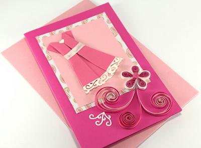 Rose color simple handmade quilling birthday greeting card designs - quillingpaperdesigns