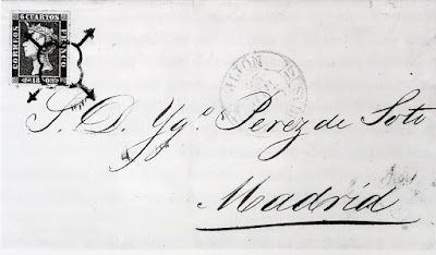 carta con el primer sello de España emitido el 1 de enero de 1850