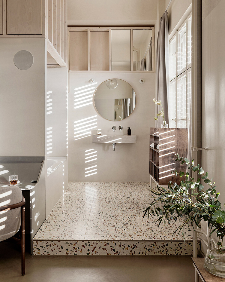 Hotel Bathroom With High Ceiling And Terrazzo Floor My