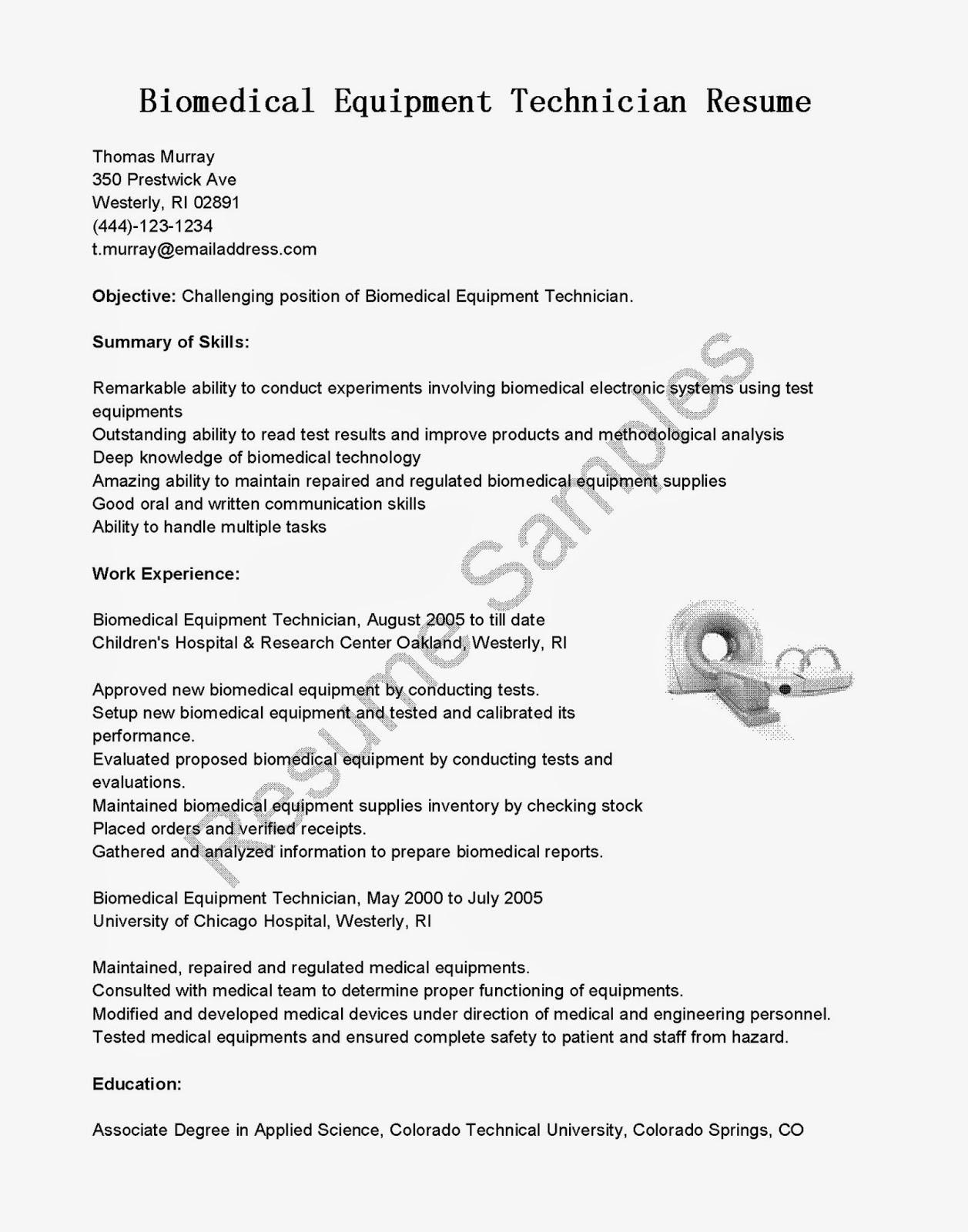 Biomedical service technician resume