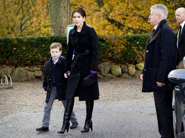 Crown Princess Mary and her oldest son Prince Christian arrived to Vinderød church to attend the funeral of her lady's maid, Tina Jørgensen in Copenhagen