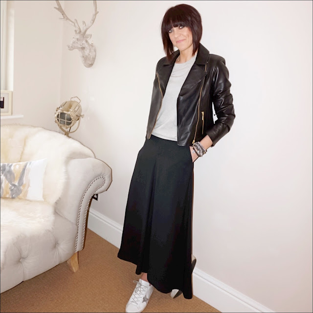 my midlife fashion, baukjen everyday biker jacket, marks and spencer extra wide culottes, j crew tippi jumper with embroidered lips, golden goose superstar leather low top trainers
