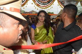 Actress Rakul Preet Singh Pictures in Green Saree at LPT Textile Market Launch  0057